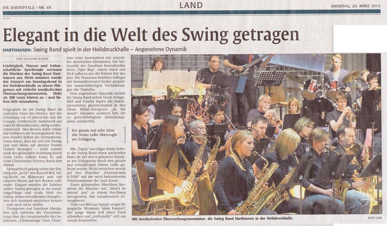 Rheinpfalzartikel zum Konzert 2012